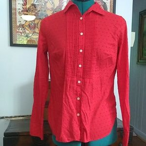 Talbots Red Cotton Blouse